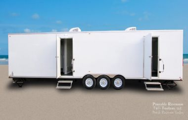 7 Station Shower Trailer Portable Restroom Combo with Laundry | Oahu Series
