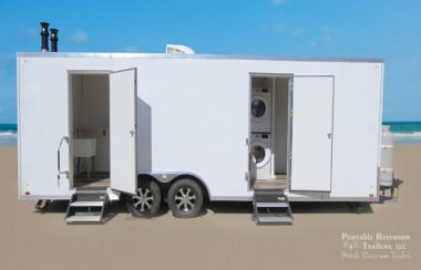 8 Station Portable Laundry Trailer - Exterior