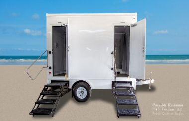 2 Station Portable Restrooms Shower Trailer with Laundry Suite| Classic Series
