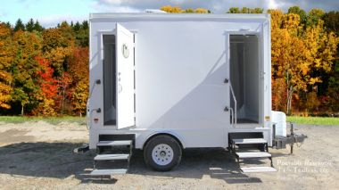 2 Station Portable Restroom Shower Trailer Combo For Rent | Classic Series - Exterior