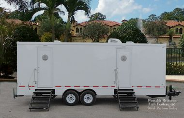 10 Station Portable Restrooms Trailer | Coastal Series - Exterior