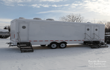 (9-2) 11 Station Portable Restrooms Trailer | Industrial Series - Gender Specific - Exterior