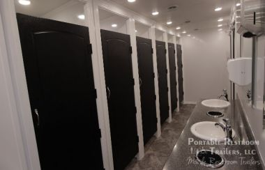 11 Station Portable Restrooms Shower Trailer Combo Rental | Classic Series - Male Gender Specific- Interior