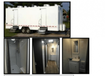 6 Station Shower Trailer Restroom Rental Combo