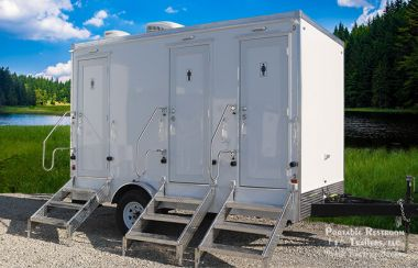 3 Station Portable Restrooms Trailer   Classic Series - Exterior