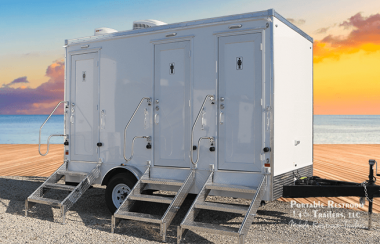 3 Station Portable Restrooms Trailers For Rent | Luxury Series
