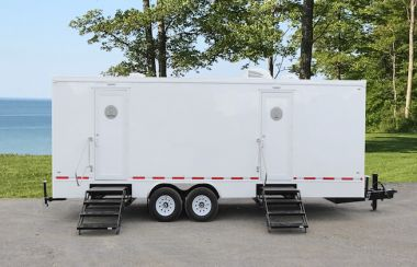 8 Station Portable Restrooms Trailer | Island Series - Palm Green Interior - Exterior
