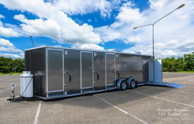 ADA Shower Trailer Portable Restroom +2 Station Laundry Combo | Oahu Series - Exterior