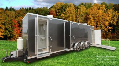 ADA Shower Trailer Portable Restrooms + 4 Station Combo | Oahu Series - Exterior