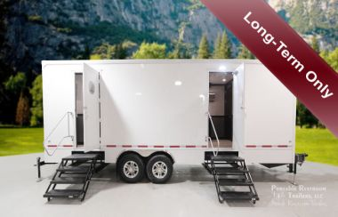 13 Station Portable Restroom Trailer for Rent | Luxury Series - Exterior