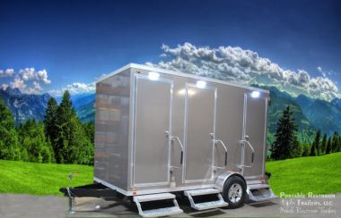 2 Station Shower Trailer Portable Restrooms Combo with Laundry | Oahu Series - Exterior