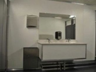 11 Station Shower Trailer Portable Restroom Combo - Male Gender Specific | Oahu Series -  interior