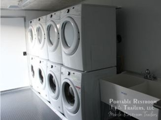 4 Station Portable Laundry Trailer - Interior