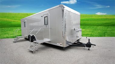 10 Station Portable Restrooms Trailer | Malibu Comfort Series Exterior