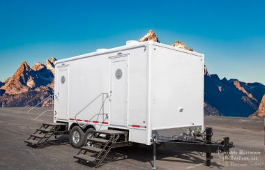 5 Station Portable Restrooms for Rent | Calypso Series - Exterior