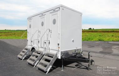 3 station portable restrooms for rent | calypso series exterior