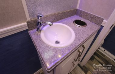 8 Station Portable Restrooms Trailer | Island Series - Blue Lagoon Interior - Countertops and Sink
