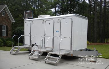 3 Station Portable Restroom Trailer | Beach Series